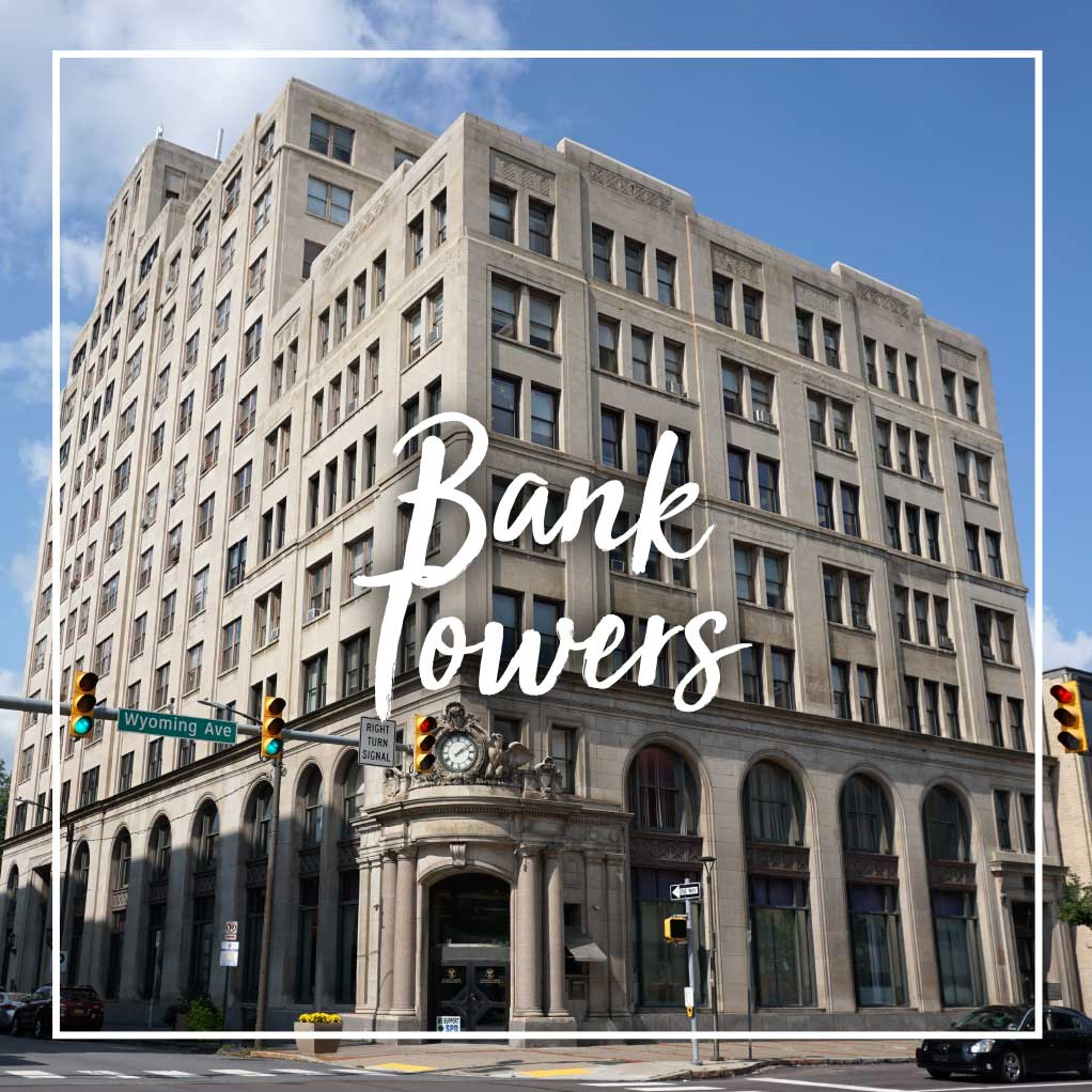 Professional, government, medical, dental, and law offices in the Bank Towers at 321 Spruce Street, Scranton, PA
