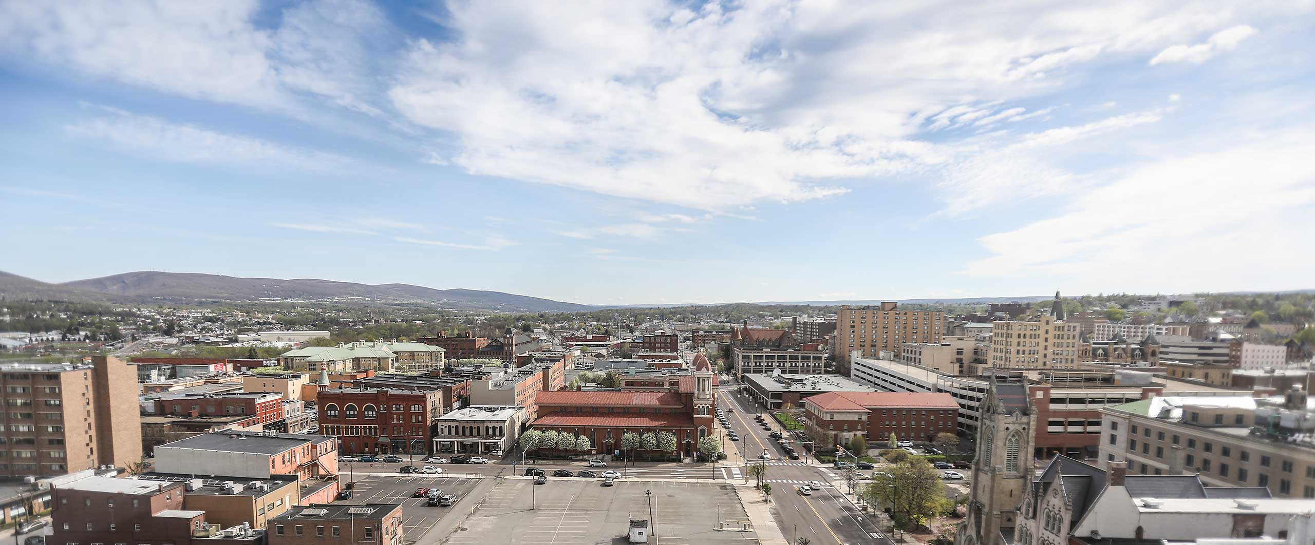 Aerial view of downtown Scranton properties