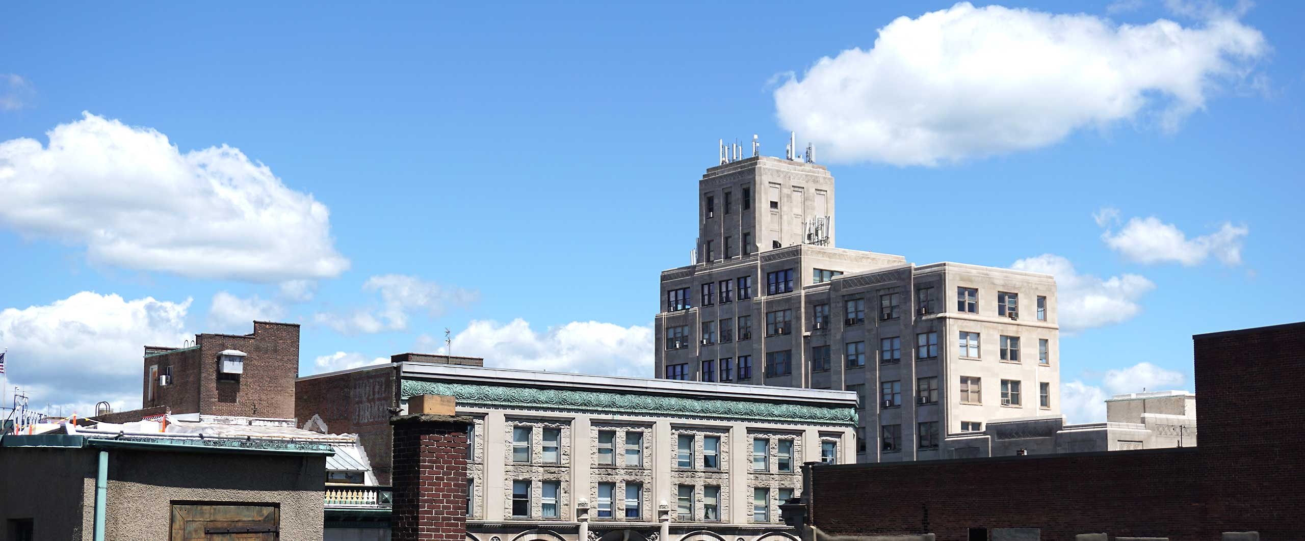 Distant view of The Bank Towers property in downtown Scranton
